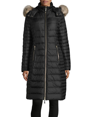 Kate Spade New York Faux-Fur Trim Hooded Down Maxi Jacket-BLACK-Small