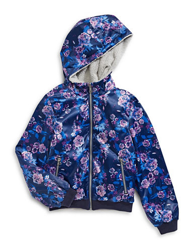 Jessica Simpson Shearling-Lined Floral Hooded Jacket-BLUE MULTI-10