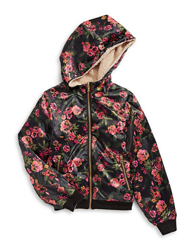 Jessica Simpson Shearling-Lined Floral Hooded Jacket-GREEN MULTI-14