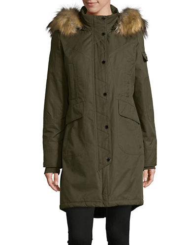 1 Madison Cotton-Blend Parka with Faux Fur Trim-OLIVE-X-Small