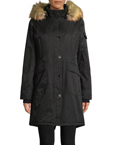 1 Madison Cotton-Blend Parka with Faux Fur Trim-BLACK-X-Small
