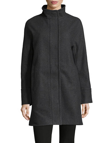 London Fog Wool Twill Cocoon Coat-CHARCOAL-Large