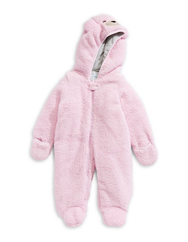Kiko And Max Sherpa Plush Critter Footie-PINK-3 Months