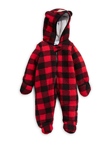 Kiko And Max Sherpa Plush Critter Footie-RED-6 Months