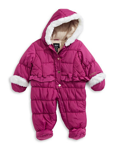 F.O.G. By London Fog Hooded Faux Fur-Trimmed Snowsuit-PURPLE-12 Months