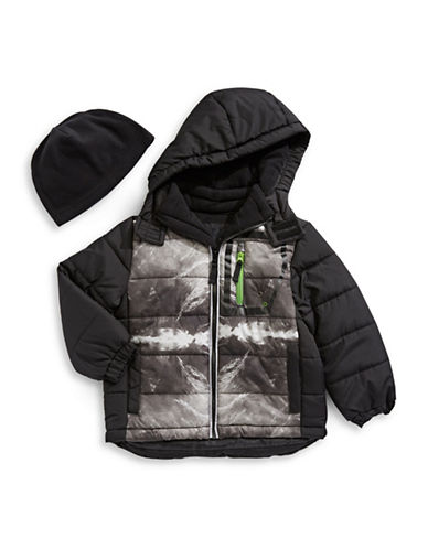 F.O.G. By London Fog Water-Resistant Quilt Jacket with Fleece Hat-BLACK-10