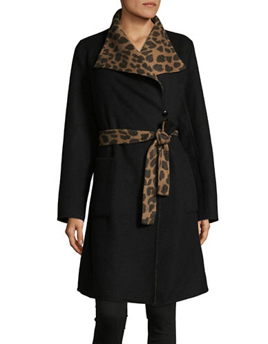1 Madison Reversible Wool-Blend Wrap Coat-BLACK/CAMEL-Large
