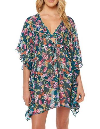 Jessica Simpson Floral Chiffon Cover Up-GREEN-Small