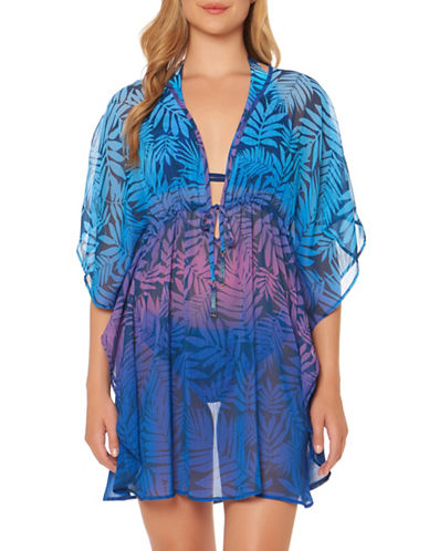 Bleu By Rod Beattie Leaf-Print Cover-Up-MULTI-Medium