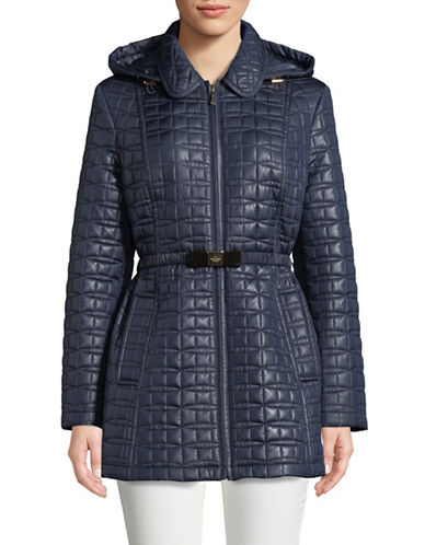 Kate Spade New York Bow Quilted Jacket-NAVY-Small
