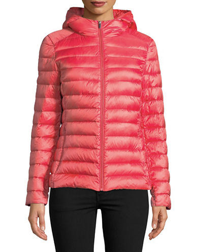 Design Lab Lord & Taylor Quilted Packable Down Jacket-RED-Small