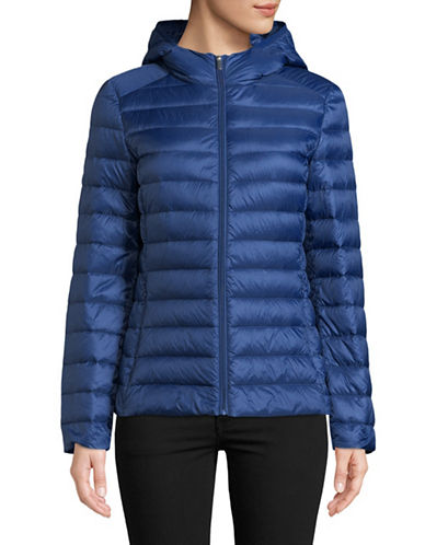 Design Lab Lord & Taylor Quilted Packable Down Jacket-BLUE-Large