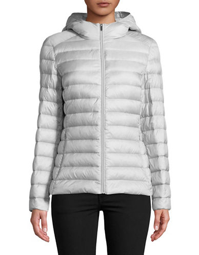 Design Lab Lord & Taylor Quilted Packable Down Jacket-SILVER-X-Large