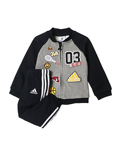 Adidas Two-Piece Zip-Up Sweater and Joggers Set-GREY-18 Months