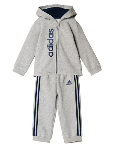 Adidas Two-Piece Hoodie and Joggers Set-GREY-12 Months