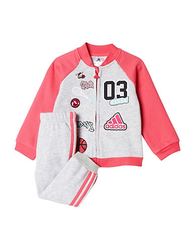 Adidas Two-Piece Graphic Jacket and Jogging Pants Set-GREY-6 Months