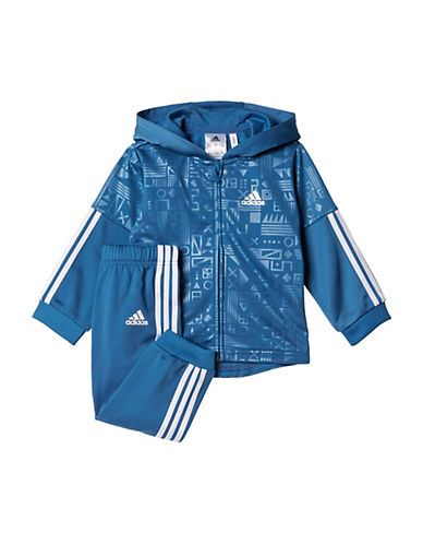 Adidas Two-Piece Printed Hoodie and Pants Set-BLUE-6 Months