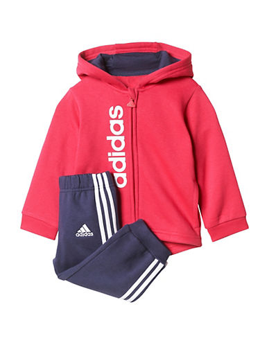 Adidas Two-Piece Logo Hoodie and Pants Set-RED-18 Months