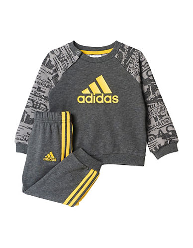 Adidas Two-Piece Raglan Jersey Tracksuit Set-GREY-24 Months