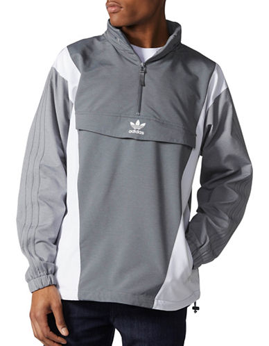 Adidas Blocked Anorak Windbreaker-GREY-Small