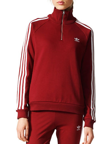 Adidas Half-Zip Sweatshirt-RED-X-Large