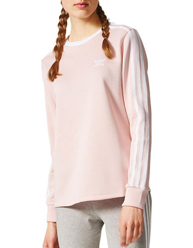 Adidas Three-Stripes Long Sleeve Top-PINK-X-Small 89383504_PINK_X-Small