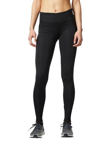Adidas Climalite Stripe Panel Leggings-BLACK-X-Large