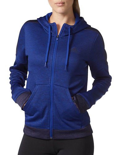 Adidas Heathered Athletic Hoodie-BLUE-Large 89597133_BLUE_Large