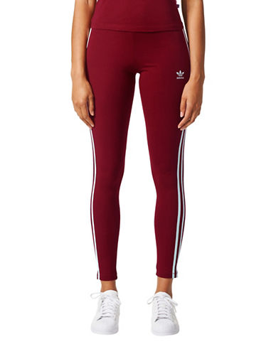 Adidas Three-Stripe Leggings-RED-Medium