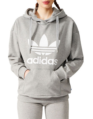 Adidas Trefoil Cotton Hoodie-GREY-X-Large 89666848_GREY_X-Large