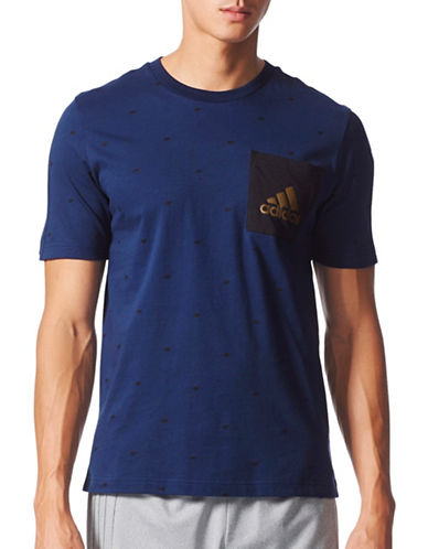 Adidas Essentials Graphic Cotton Pocket Tee-NAVY-X-Large
