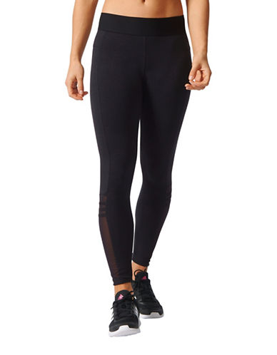 Adidas Three-Stripe Mesh Tights-BLACK-Large