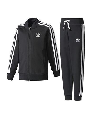 Adidas Two-Piece Originals Fleece Track Suit Set-BLACK-4