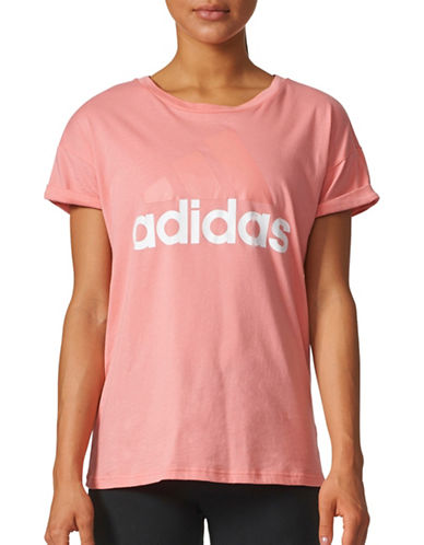 Adidas Loose Fit Cotton Logo Tee-ROSE-Small