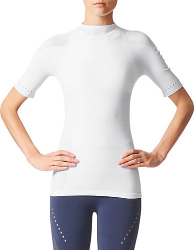 Adidas Seamless Mesh Panel Top-WHITE-Medium