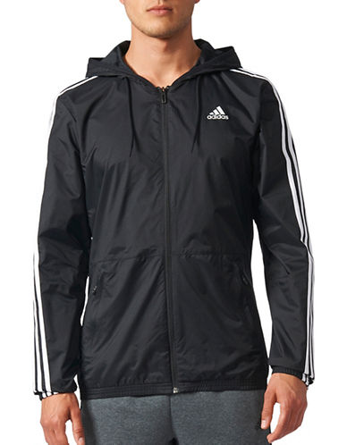 Adidas Essentials 3-Stripes Windbreaker-BLACK-Medium