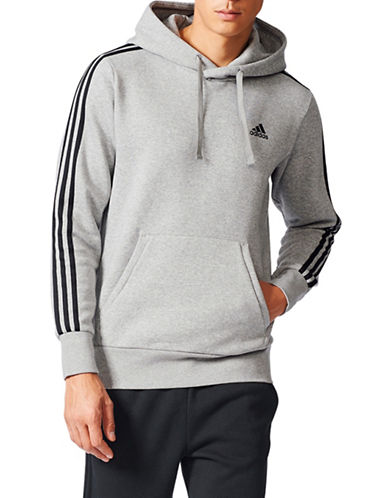 Adidas Essentials 3-Stripes Fleece Pullover-GREY-Medium