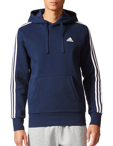 Adidas Essentials 3-Stripes Fleece Pullover-BLUE-Large