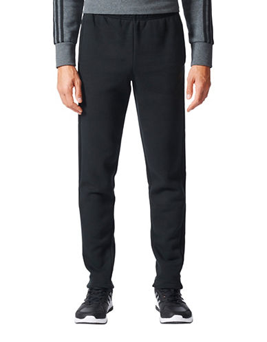 Adidas Essentials 3-Stripes Fleece Sweatpants-BLACK-Large