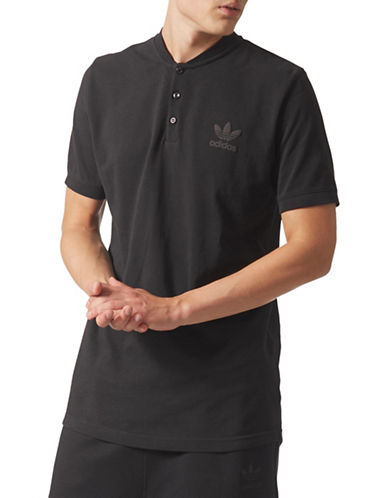 Adidas Originals Trefoil Cotton Polo-BLACK-Small