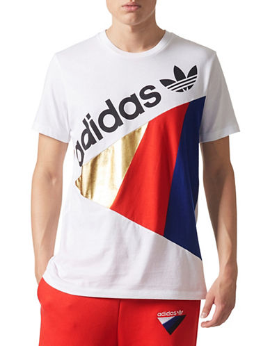 Adidas Originals Tribe Cotton Logo Tee-WHITE-Large