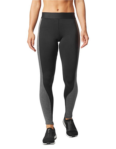 Adidas Elasticized Contrast Panel Leggings-BLACK-X-Small 89666894_BLACK_X-Small
