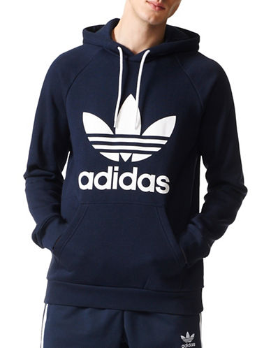 Adidas Originals Trefoil Drawstring Hoodie-BLACK-Small