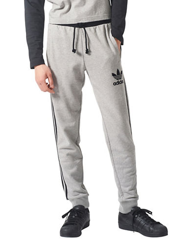 Adidas Originals Three Stripe French Terry Sweatpants-GREY-Large
