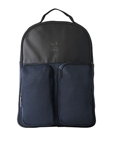 Adidas Double Pouch Knit Backpack-BLACK-One Size