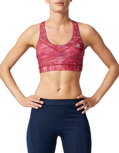 Adidas Techfit Medium Support Space Dye Sports Bra-RED-X-Small
