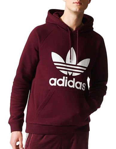 Adidas Originals Trefoil Drawstring Hoodie-RED-X-Large 89463679_RED_X-Large