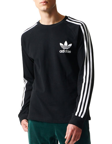 Adidas Originals Striped Cotton Sweater-BLACK-Large