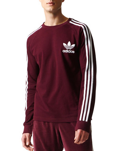 Adidas Originals Striped Cotton Sweater-RED-Large