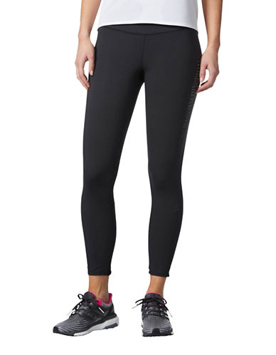 Adidas Climacool Illusion Stripe Panel Leggings-BLACK-X-Large